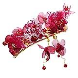 PsWzyze Couronne diadème coréen Fleur éternelle mariée Rouge Coiffe Mariage Couronne Cheveux Accessoires Bandeau Robe de mariée Rouge