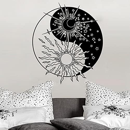 Estilo chino Yin Yang Símbolo Sol Luna Día Noche Vinilo Arte Etiqueta de la pared Calcomanía del coche Dormitorio Sala de estar Estudio de yoga Oficina Decoración para el hogar Mural