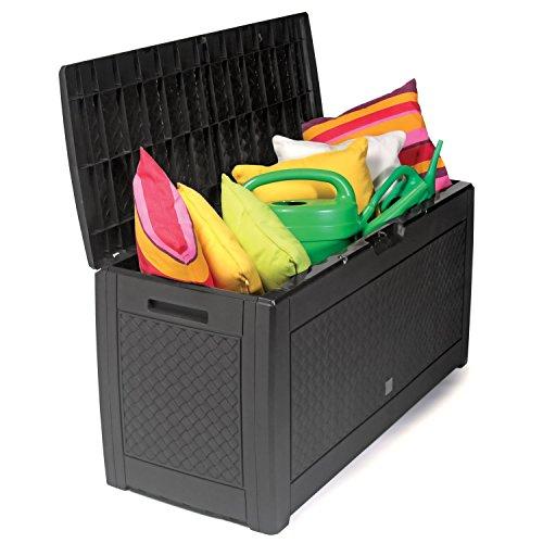 Boîte de rangement en plastique - Avec roulettes au look rotin - Pour coussins en plastique - Étanche - Anthracite - 310 l - Idéal pour le jardin