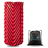 Klymit Insulated Static V Luxe Sleeping Pad, Extra Wide (30 Inches) for Camping and Backpacking Bundle with a Lumintrail Drawstring Bag