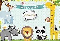 lovedomi 8x6ft 漫画動物園動物熱帯ジャングル野生動物キリン象パンダハッピーデイ写真背景写真スタジオブース家族の休日の誕生日パーティー写真スタジオ小道具ビニール素材