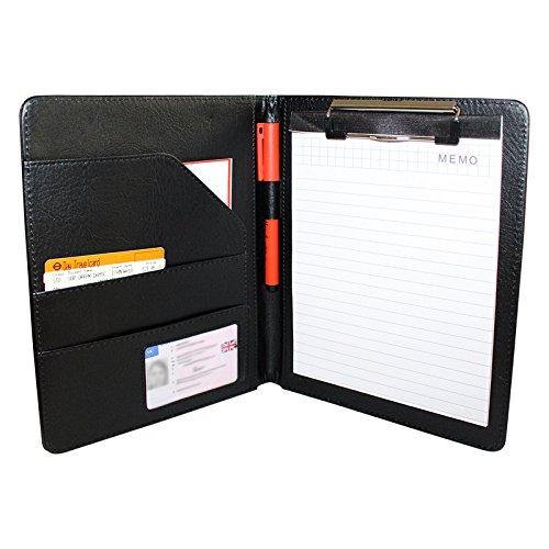 Dokumentenmappe A5, Schwarz, PU Leder, Konferenzmappe, Portfolio, Businessmappe, Schreibmappe mit Klemmbrett für Männer, Frauen und Büro