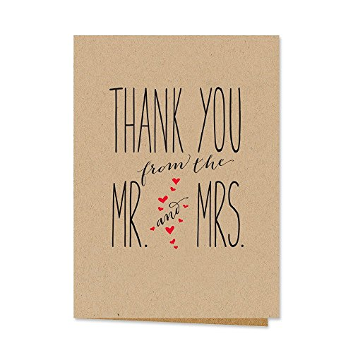 Canopy Street Mr. and Mrs. Thank You Notecards, Blank Inside with Kraft Envelopes, Set of 36