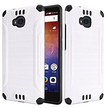 Case Compatible with Huawei Ascend XT H1611 Dual Layer TPU Brushed Metallic Textured Finish Shock Impact Protection Hybrid Case  White