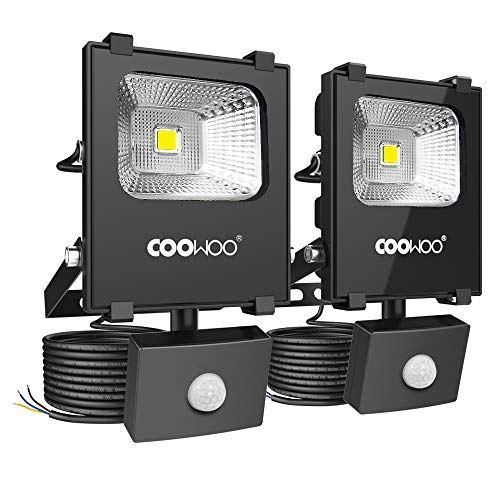 COOWOO 10W LED Strahler mit Bewegungsmelder 1000LM Außenstrahler Fluter IP65 Wasserfest Flutlicht für Garten Garage Sportplatz Hof (2 pack)