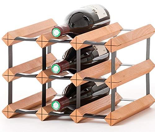 RAXI ™ Classic Premium Weinregal aus Holz mit luxuriösem Design/Flaschenregal für 9X Wein Flaschen - 32,5x23x30 cm