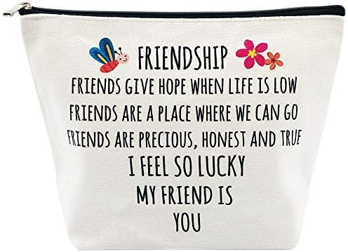Best Friends Gifts for Women Birthday I am Lucky My Friend is You Friendships Makeup Bag for product image