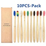 Boner 10PCS Natural Bamboo Toothbrush Set Soft Bristle Charcoal Teeth Whitening Bamboo Soft Dental Oral Care,Mix