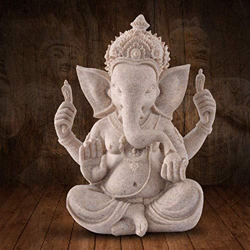 HJUYV-ERT Creatividad Ganesha Buda Estatua Escultura de Elefante, Estatuilla de decoración de hogar y jardín para Sentarse, Adorno de Piedra Arenisca al Aire Libre Artesanía Adornos de jardín