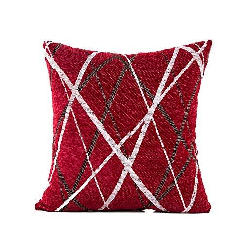 Nunubee Housse de Coussin Matériau de Chenille Style de Ligne Coussin Decoration decoratif canape Deco canapé scandinave CASA divano letto Décoration de Voiture, Rouge 45 * 45cm