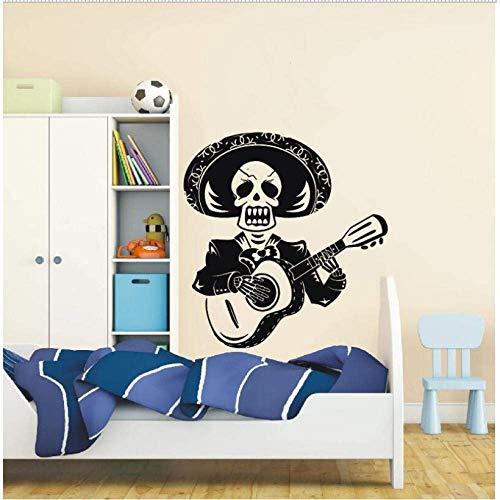 Art Design schedel man spelen de gitaar muur sticker Mexico Mariachi met Sombrero Vinyl muur muurschildering huis speciale Decor 71 * 80Cm