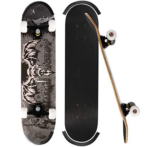 ioutdoor Skateboard Komplettboard 79x20cm Holzboard für Anfänger, Kinder und Erwachsene (Skelett)