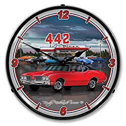 1970 442 Oldsmobile LED Wall Clock, Retro/Vintage, Lighted, 14 inch