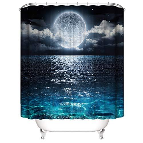 LLLTONG Duschvorhang Mehltau Kirschblüte Kirsche Duschvorhang, waschbarer dekorativer Duschvorhang, wasserdichtes Badewannenzubehör Mondschein über dem Meer