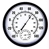 Thermometer Indoor Outdoor 10' Patio Large Wall Thermometer and Hygrometer,No Battery is Required to Let You to See The Temperature and Humidity of The Day from a Distance…