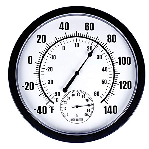 "Thermometer Indoor Outdoor 10"" Patio Large Wall Thermometer and Hygrometer,No Battery is Required to Let You to See The Temperature and Humidity of The Day from a Distance"