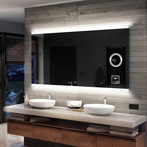 Artforma Badspiegel 160x70cm mit LED Beleuchtung | Wählen Sie Zubehör - Bad Licht Spiegel Individuell Nach Maß | Beleuchtet Wandspiegel Lichtspiegel Badezimmerspiegel | Energiesparend A++ L47