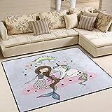 Domoko Use7 - Alfombra para sala de estar, dormitorio, 160 cm x 122 cm, diseño de unicornio, estrella de sirena, arcoíris