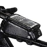 Rhinowalk Bike Phone Bag Bicycle Front Frame Bag Top Tube Bag Waterproof Handlebar Bag with 6 inch Touch Screen, Black
