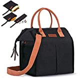 Insulated Lunch Bag for Women/Men - Reusable Lunch Box for Office Work Picnic Beach - Leakproof Cooler Tote Bag Freezable Lunch Bag with Adjustable Shoulder Strap for Adult
