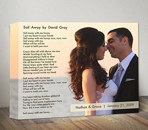 Wedding Anniversary Gift For Couple First Dance Song Lyrics Personalized Photo Frame Wedding Song Lyric Art Wood Wall Art Unique Gift Idea