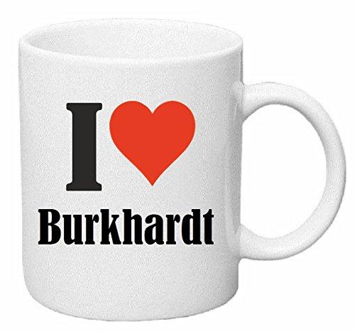 Reifen-Markt Kaffeetasse I Love Burkhardt Keramik Höhe 9,5cm ? 8cm in Weiß