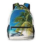 Mochila para adolescentes, hombres, mujeres, paquete de almacenamiento,Coconut Palm en Caribbean Beach Cancún M, Mochila para portátil de viaje para estudiantes de escuela informal de negocios