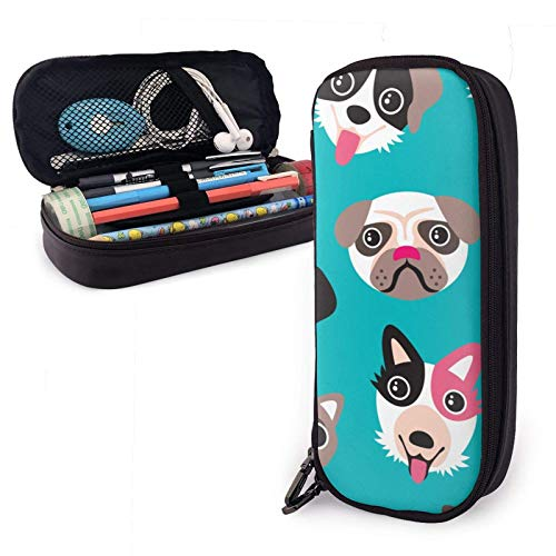 XCNGG Pug Dalmatian Husky Large Capacity Pencil Case Organizer Storage Pencil Bag Pen Pouch Stationery with Zipper for School College Student Girls Boys