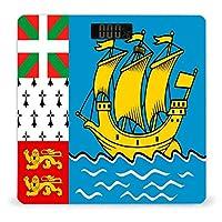 サンピエール島とミクロン島の旗 LCDディスプレイ付き高精度スマートフィットネススケール体重デジタルバスルームボディスケール