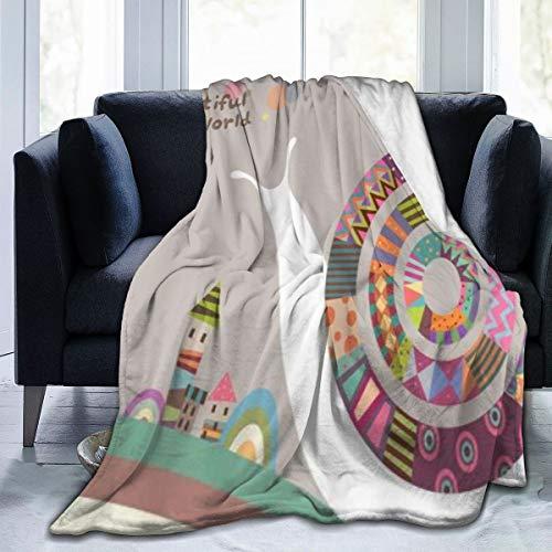 MUYIXUAN Soft Fleece Throw Blanket,Dessin animé, Escargot, coloré, Maison, Beau Monde,Home Hotel Sofá Cama Sofá Mantas para Parejas Niños Adultos,150x200cm