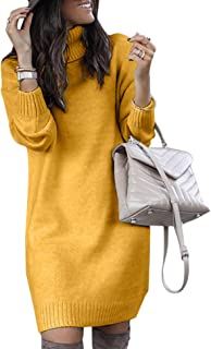 Minetom Mujeres de Punto Vestido Cuello Alto Manga Larga Mini Dress Color Sólido Otoño Invierno Suéter Largo