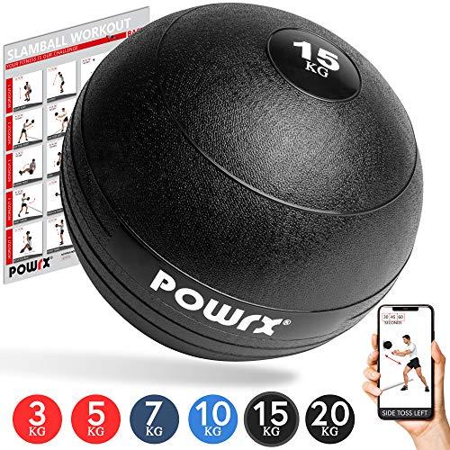 POWRX Slamball/Medizinball 3-20 kg (15 kg/Schwarz)