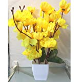 PLERIZA Artificial Yellow Cherry Blossom Plant Pot | Flower vase for Home Decoration | Flower Pot with Artificial Flowers(22CM)