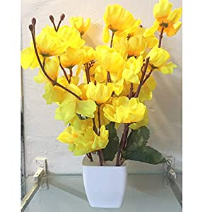 CELEBRATION Artificial Yellow Cherry Blossom Plant Pot | Flower vase for Home Decoration | Flower Pot with Artificial Flowers(22CM) Yellow