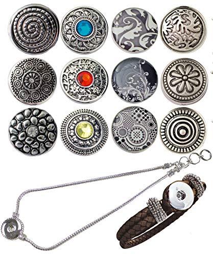 Sunsa Click-Buttons Chunks sieraden drukknopen klikknop voor sieraden set: Charms halsketting armband dames meisjes