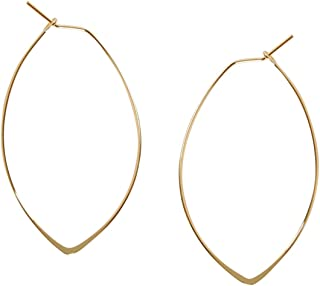 Marquise Threader Big Hoop Earrings - Lightweight Oval Leaf Statement Drop Dangles, Safe for Sensitive Ears - Plated in 925 Sterling Silver or 18k Gold, by Humble Chic NY