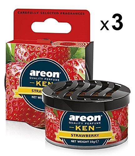 AREON Ken Lufterfrischer Erdbeere Dose Autoduft Wohnung Auto Duft Duftdose Erfrischer 3D Set (Strawberry Pack x 3)