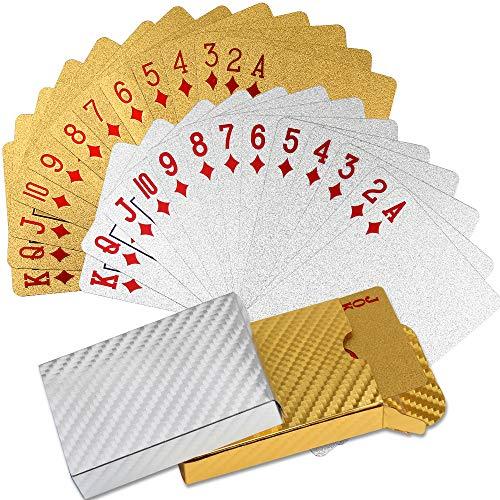 Juego de 2 tarjetas de juego de plástico resistente al agua, cartas de póquer, barajas de cartas profesionales para juegos, fiestas de Halloween (lámina dorada y lámina plateada)