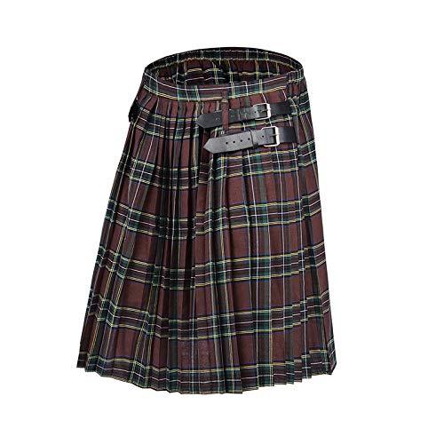 Scottish Mens Kilt Traditioneller Plaidgürtel Plissee Bilaterale Kette Braun Gothic Punk Scottish Tartan S Color3