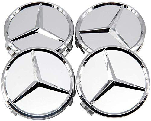 FORTEN CAR, Radnabenabdeckungen 60 mm, kompatibel mit Klasse A, B, C, E, CLK, GL, M, ML, SLK, für Alufelgen-Kappen EOM: A170 400 00 25, Silber/Chrom