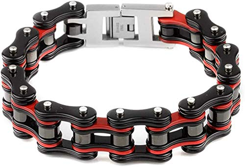 GUOYUN Heren Armband RVS Armband Fiets Ketting Bangle Mannen Rood Zwart Armband Motorfiets Ketting Sieraden Mannen Met Geschenkdoos