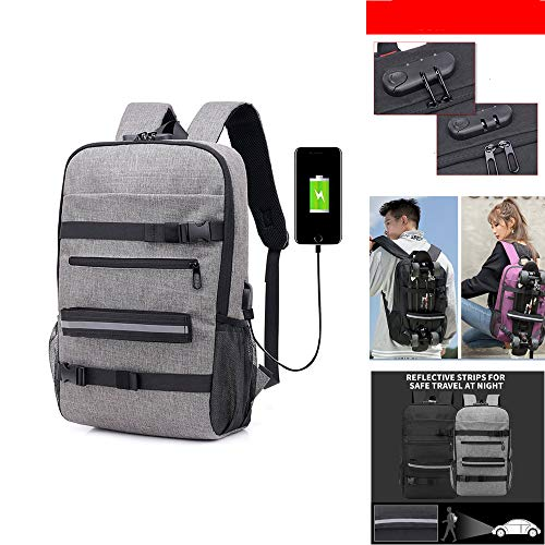 Laptop Backpack, Skateboard Backpack with USB Charging Port, Anti-Theft Lock, Waterproof Rucksack for College School Business Travel Men Boy (Gray)