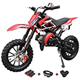 X-Pro 50cc Dirt Bike Gas Dirt Bike Kids Dirt Bikes Pit Bikes Youth Dirt Pitbike 50cc Mini Dirt Bike with Gloves, Goggle and Handgrip (Red)