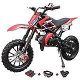 X-PRO 50cc Dirt Bike Gas Dirt Bike Kids Dirt Bikes Pit Bikes Youth Dirt Pitbike 50cc Mini Dirt Bike with Gloves, Goggle and Handgrip (Red)