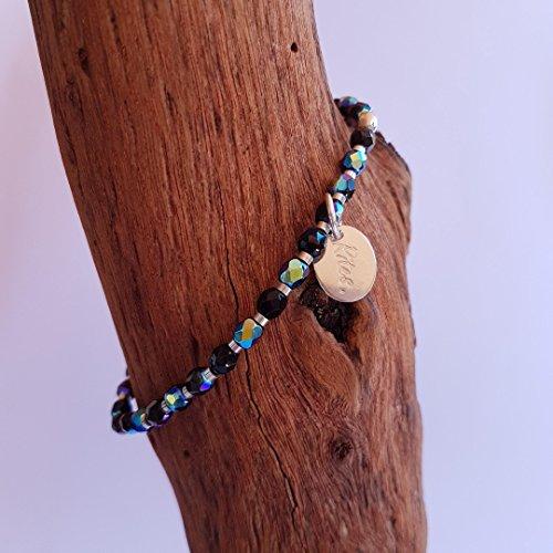 Bracelet élastiqué fin en pierres de jade, d'onyx, de chrysocolle, de swarovski, d'hématite, de corail et argent 925 pour femmes, bracelet perle minimaliste, style ethnique, bohême chic, spécial été