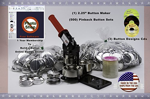 """2.25"""" Button Maker Machine + 500 Complete Pinback Button Parts + Cds + Software from American Button Machines"""