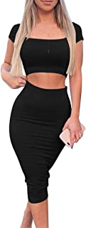 Kaximil Women's Sexy Bodycon Midi Club Dresses Basic Casual 2 Piece Outfits Crop Top Skirt Set