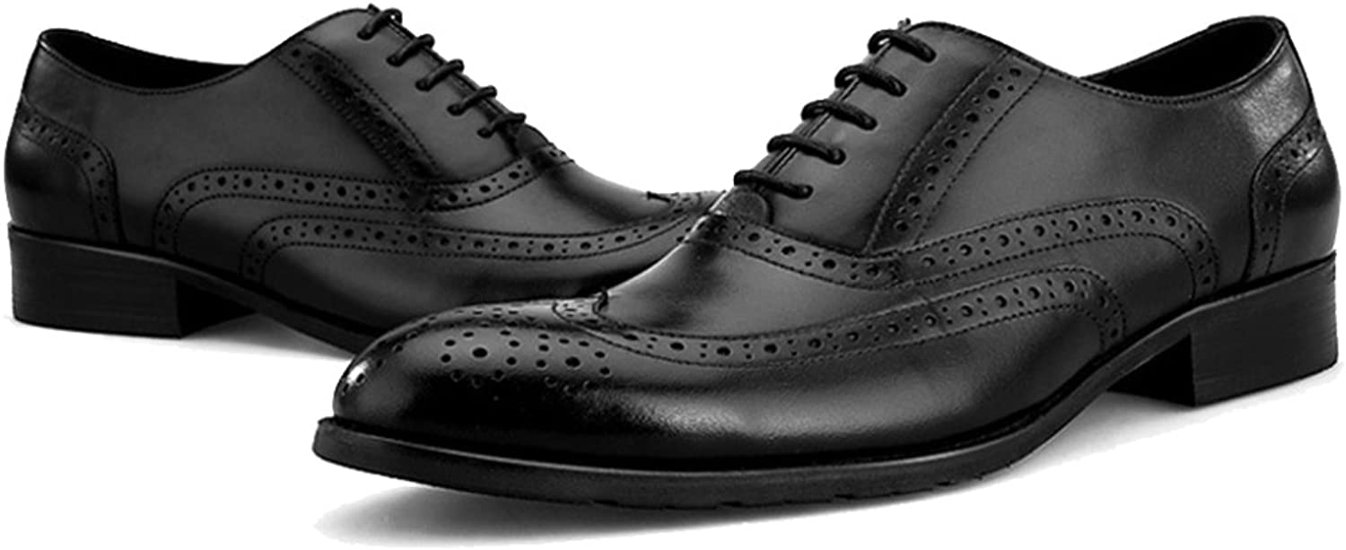 MERRYHE Pointed-toe Lace-ups Real Leather Brogue Oxford shoes For Mens Business Formal Dress Handmade shoes For Wedding Party Work