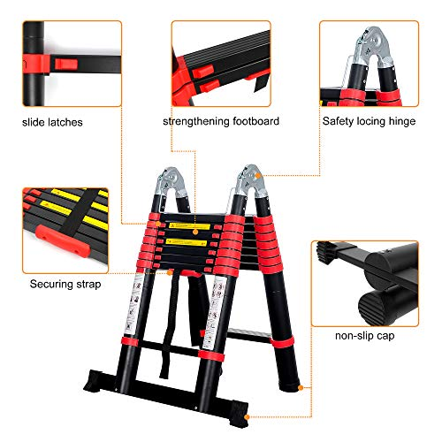 BEETRO 16.5ft Aluminum Telescoping Ladder, A Type Portable Telescopic Extension Ladder for Outdoor Working, Household Use and More, 330lb Capacity, More Durable and Safer with Balance Rod