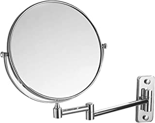 Vanity Mirror Wall-Mounted Makeup Mirror 360 Degree Rotating Bracket Nail-Free Perforated Dual-use Stainless Steel HD for Family (Color : Silver, Size : 8 inches)